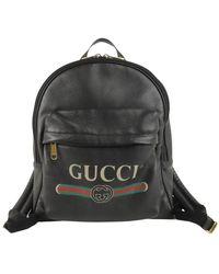 Gucci Leren Rugzak Met Logo - Zwart