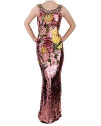 Dolce & Gabbana Sequined Tulip Dress - Roze