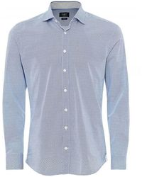 Hackett Slim Fit H Print Shirt - Blu