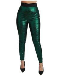 Dolce & Gabbana High Waist Legging Stretch Broek - Groen
