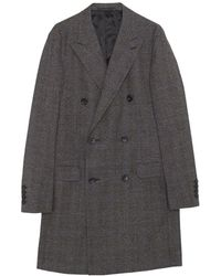 Lanvin Double Breasted Prince Of Wales Coat - Gris