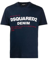 DSquared² Men's Short Sleeve T-shirt Crew Neckline Jumper - Blauw