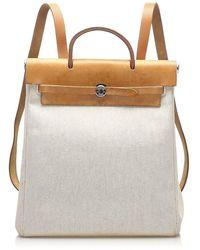 Hermès Herbag Canvas Backpack Fabric - Marrone