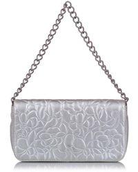 Chanel Vintage Camellia Lambskin Leather Handbag - Grijs