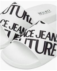 Versace Logo Lettering Slippers Blanco