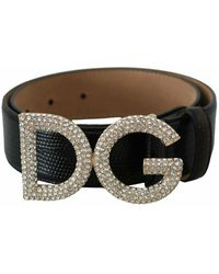 Dolce & Gabbana Crystal Logo Buckle Belt - Zwart