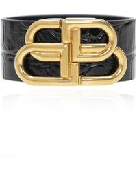 Balenciaga Leren Armband Met Logo - Zwart