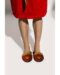 Versace Slippers With Baroque Print - Rood