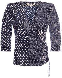 Diane von Furstenberg Wrap Top - Blauw