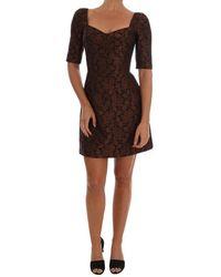 Dolce & Gabbana Bloemen Brocade A-lijn Jurk - Bruin