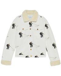 CASABLANCA Printed Denim Jacket Sherpa Collar - Wit