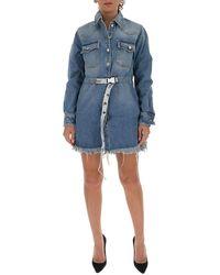 Off-White c/o Virgil Abloh Frayed Industrial Belted Denim Dress - Blauw