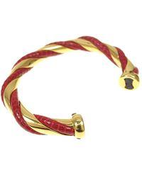 Hermès Lagarto de piel trenzado Cuff Rojo