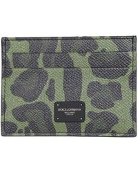 Dolce & Gabbana Card Holder With Dauphine Print With Logo - Groen