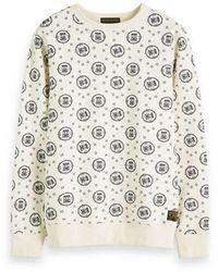 Scotch & Soda Crewneck Sweat With Logo All-over Printed Sweaters Ecru