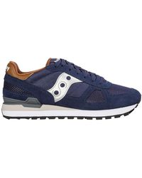 Saucony Men's Shoes Suede Trainers Sneakers Shadow O - Blauw