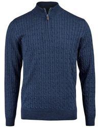 Stenströms Half zip cable knitwear - Bleu