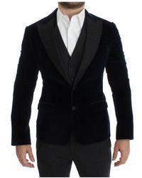 Dolce & Gabbana Velvet Gray 3 Piece Slim Fit Suit Azul