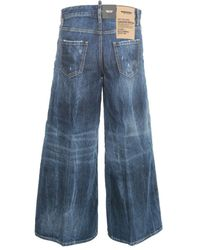 DSquared² Wide LEG Jeans W/Coulotte Azul