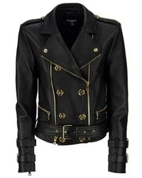 Balmain - Leather Biker Jacket With Gold-tone Buttons - Lyst