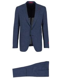 Isaia Gregory Prince Of Wales Suit - Blauw