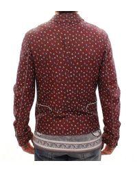 Dolce & Gabbana Leather Boxer Print Jacket Coat Rojo