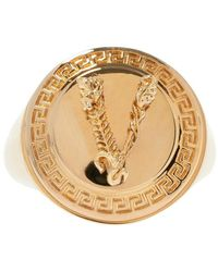 Versace Signet Ring With Logo - Geel