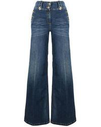 Elisabetta Franchi High waist jeans with gold buttons - Azul