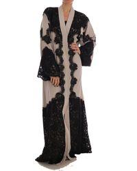 Dolce & Gabbana Ricamo Kaftan Abaya Dress - Zwart