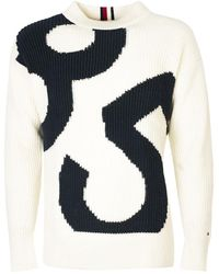"""Tommy Hilfiger """"oversized Vergrote"""" Sweter - Wit"""