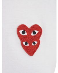 COMME DES GARÇONS PLAY Women's T-Shirt with overlapping hearts Blanco
