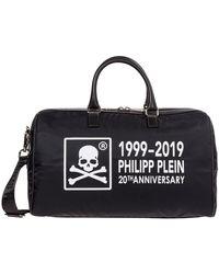 Philipp Plein Travel Duffle Weekend Shoulder Bag Nylon Anniversary 20th - Zwart