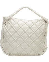 Chanel Vintage Diamond Stitch Lambskin Leather Tote Bag - Blanc