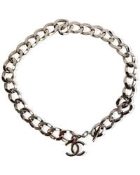 Chanel Vintage Metal Chunky Chain Necklace With Cc Logo - Grijs