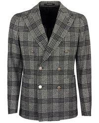 Tagliatore Double-breasted checked jacket blazer - Grigio