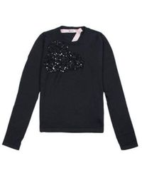 N°21 Ls Wool Sweater With Ribbon And Sequins - Zwart