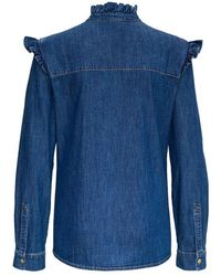 Philosophy Di Lorenzo Serafini Denim Shirt with Ruffles Azul