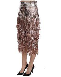Dolce & Gabbana Sequin Embellished Fringe Midi Pencil Skirt Gris - Multicolor