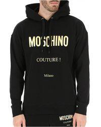 Moschino Sweat à capuche logo doré - Nero