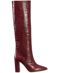 Paris Texas Knee High Boots With Reptile Look - Rood