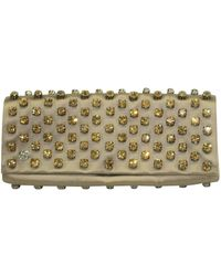 Gucci Satin Leather Clutch With Embellishments - Geel