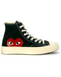 COMME DES GARÇONS PLAY High Canvas Sneaker - Zwart