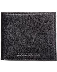 Emporio Armani Men's Wallet Leather Coin Case Holder Purse Card Bifold - Zwart