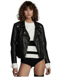 One Teaspoon Midnight Paradise Leather Moto Jacket - Zwart