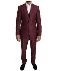 Dolce & Gabbana Wool 3 Piece Double Breasted Suit - Rood