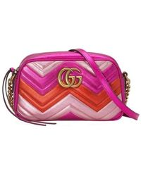 Gucci Small Quilted Metallic Leather Camera Bag - Roze