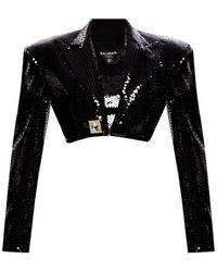 Balmain Cropped Pailletten Blazer - Zwart