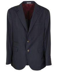 Brunello Cucinelli Single Breasted Blazer - Blauw