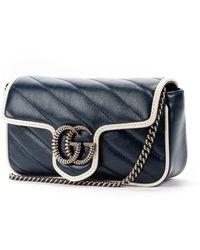 Gucci Leather GG Marmont Super Mini Sac En Bandoulière - Blauw