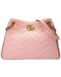 Gucci Marmont Matelasse Shoulder Bag - Roze
